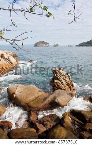 View of Los Arcos and Banderas Bay from Mismaloya, Puerto Vallarta, Mexico - stock photo