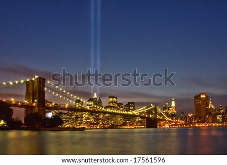 View of lower Manhattan and Brooklyn Bridge at night on September 11, 2008.