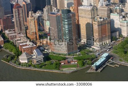 View of lower Manhattan  - battery park - stock photo