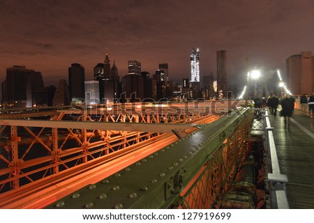 View of Lower Manhattan following power outage as a result of Hurricane Sandy from Brooklyn Bridge on November 2, 2012. - stock photo