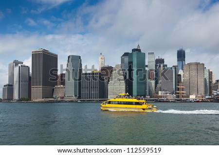 View of lower Manhattan in New York - USA - stock photo