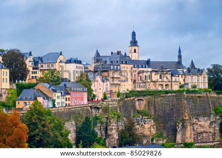 View of Luxembourg city center - stock photo