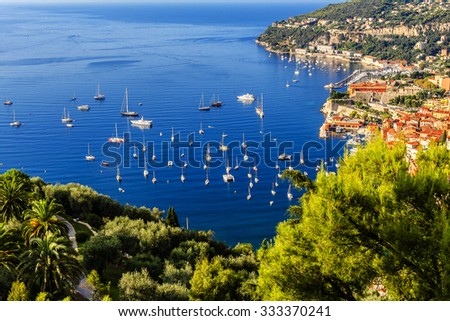 View of luxury bay and resort of Cote d'Azur. Villefranche-sur-mer is resort on the French Riviera at Mediterranean Sea, near Nice. Cote d'Azur. France - stock photo