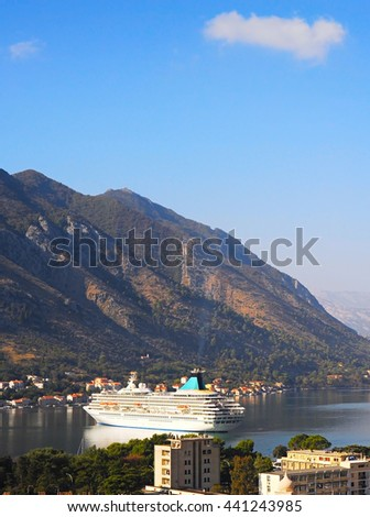 View of Luxury cruise liner in Kotor bay. Montenegro - stock photo