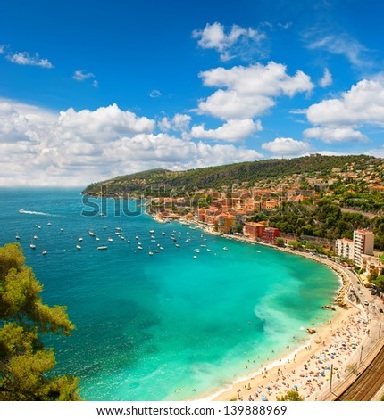 view of luxury resort and bay of Cote d'Azur in France. Villefranche near Nice and Monaco, french riviera - stock photo