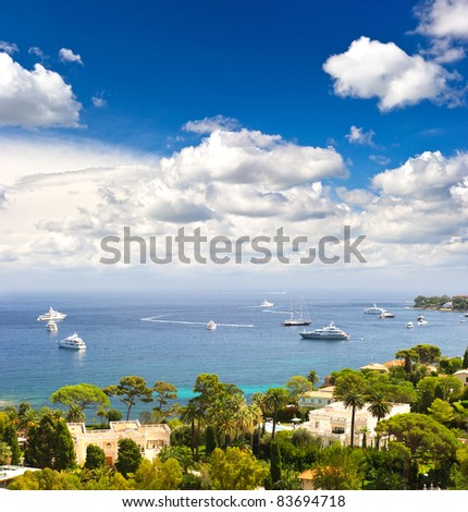 view of luxury resort and bay of Cote d'Azur. Villefranche, french riviera - stock photo