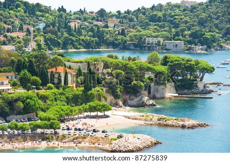 view of luxury resort and bay of Villefranche. Cote d'Azur. french riviera - stock photo