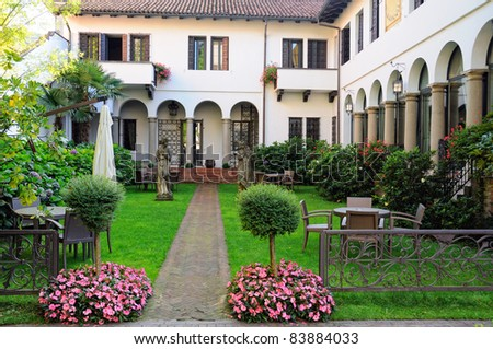view of luxury typical italian garden - stock photo