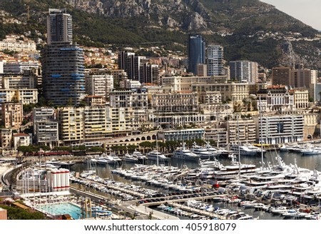 View of luxury yachts and apartments in harbor of Monaco, Cote d'Azuz