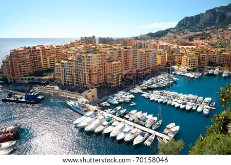 View of luxury yachts in harbor of Monaco. - stock photo