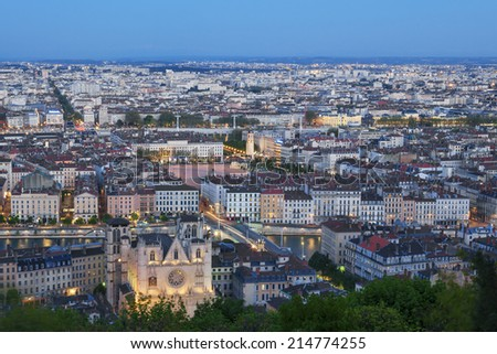 View of Lyon city from Fourviere at night, France  - stock photo