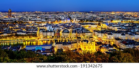 View of Lyon city from Fourviere, France - stock photo