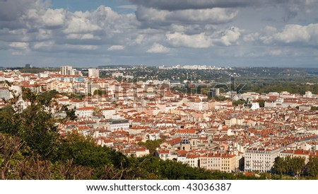 View of Lyon from Fourviere Hill. - stock photo