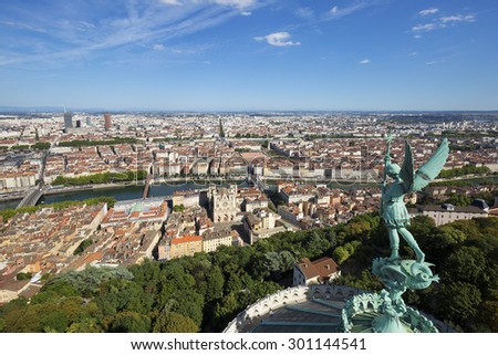 View of Lyon from the top of Notre Dame de Fourviere, France. - stock photo