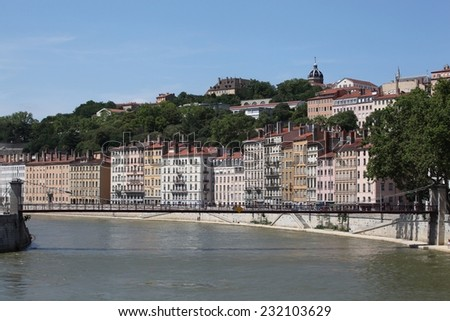 View of lyon with Saone river, France - stock photo