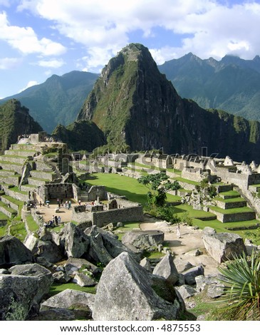 View of Machu Picchu from the rock quarry. - stock photo