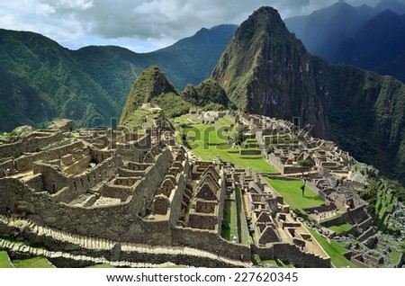 View of Machu Picchu lost city of Inkas, UNESCO heritage site - stock photo