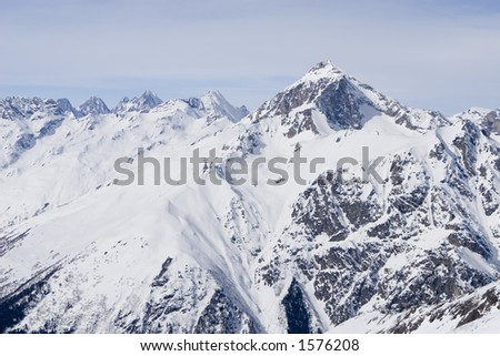 view of main Caucasian mountain ridge