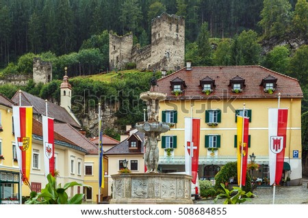 View of Main square and castle ruins, Friesach, Austria