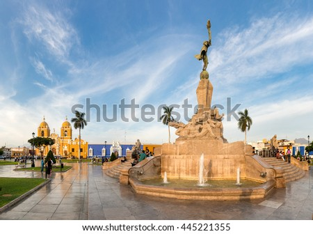 View of main square of Trujillo city, Peru.