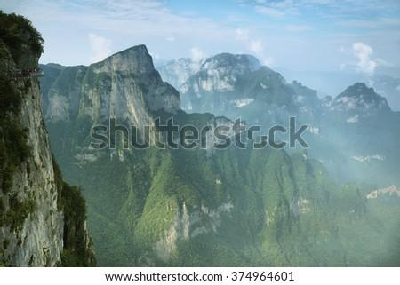 View of majestic peaks of Tianmen mountain national park, Hunan province, China - stock photo