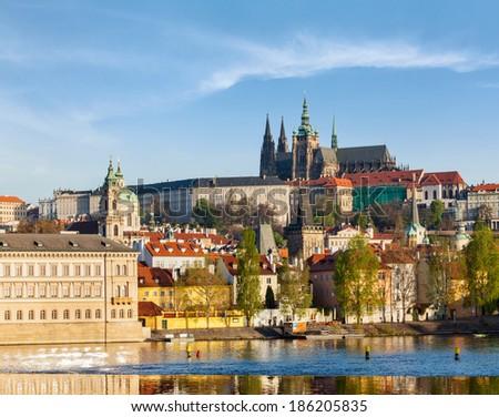 View of Mala Strana and  Prague castle over Vltava river. Prague, Czech Republic - stock photo