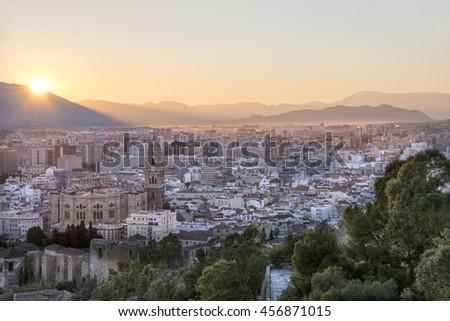 View of Malaga from the Alcazaba - stock photo