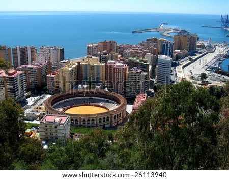 View of Malaga, Spain (with corrida arena)