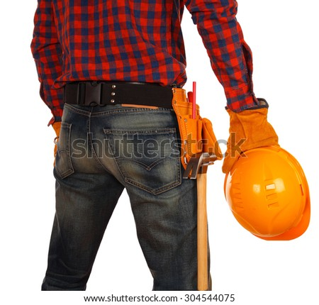 View of male engineer standing and holding yellow helmet with yellow suede belt isolated on white background - stock photo