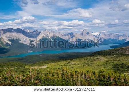 View of Maligne Lake and peaks from the Bald Hills in Jasper National Park.