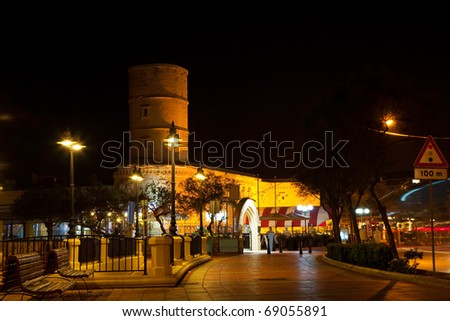 View of Malta. Old Sliema tower in night - stock photo