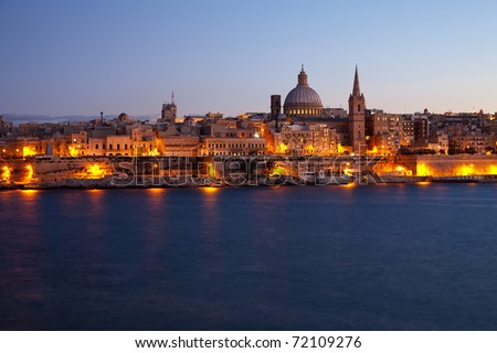 View of Malta. Old Valletta in dusk - stock photo