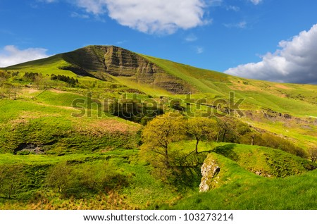View of Mam Tor from above Winnats Pass near Castleton in the Peak District National Park Derbyshire England
