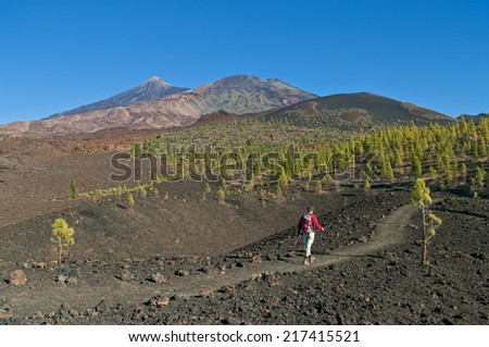 view of man hiking in el teide national park, tenerife, canary islands - stock photo