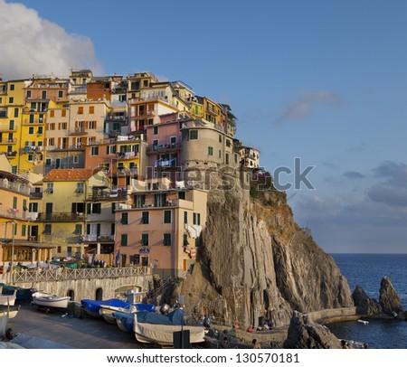 View of Manarola village at sunset (Cinque Terre,Italy) - stock photo
