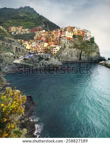 View of Manarola village, on coast of Cinque Terre. Liguria. Italy - stock photo