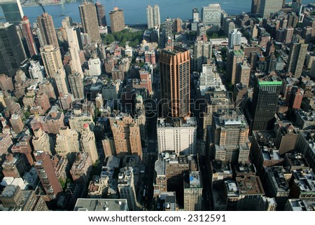 View of Manhattan from Empire State Building - stock photo