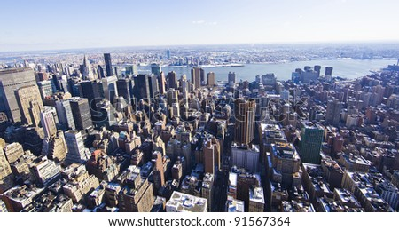 view of Manhattan from The Empire State Building, New York City - stock photo
