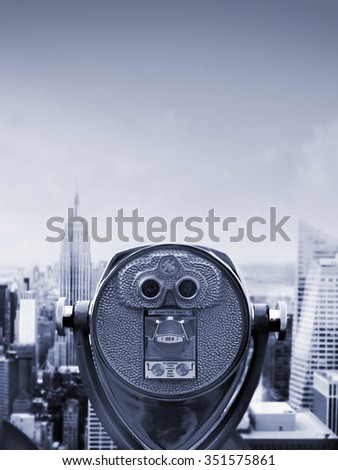 View of Manhattan skyline from one of New York cities skyscrapers - stock photo