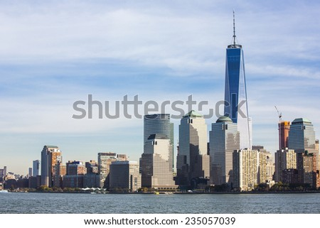 View of Manhattan skyline in NYC. - stock photo