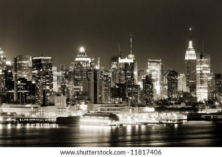 View of Manhattan West side from New Jersey side of Hudson - stock photo