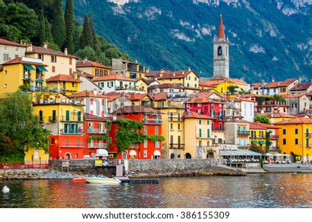 View of many color buildings in Varenna, Como lake, Italy. - stock photo