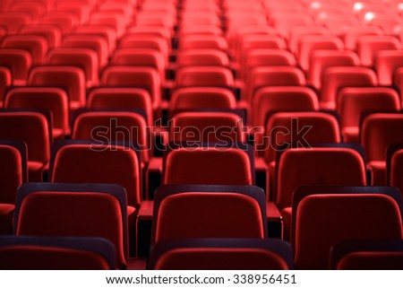 View of many empty seats in theater - stock photo