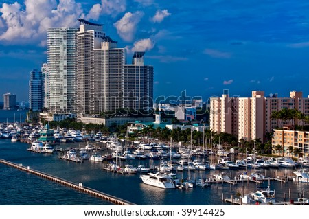 View of Marina in Miami Beach, Florida. - stock photo