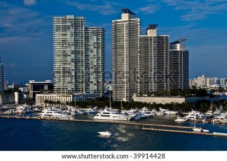 View of Marina in Miami Beach, Florida. - stock photo
