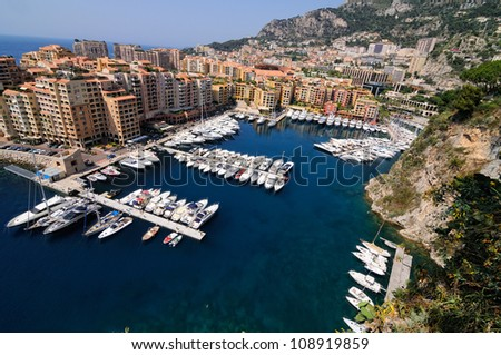 view of marina in Monte Carlo, Monaco - stock photo