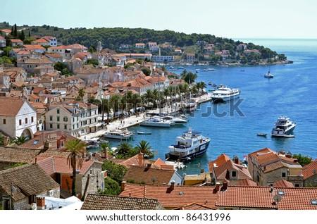 View of marina on island  Hvar - stock photo