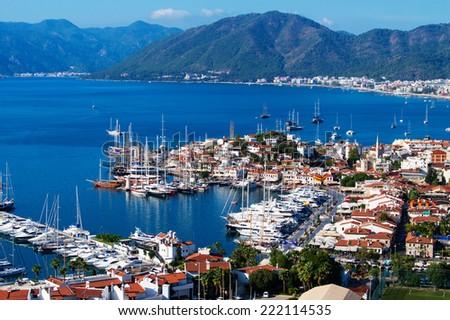 View of Marmaris harbor on Turkish Riviera. - stock photo