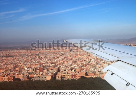 View of Marrakesh from the airplane - stock photo