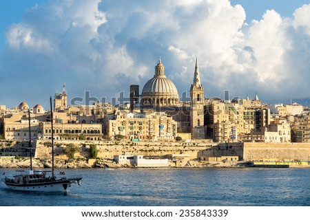 View of Marsamxett Harbour and Valletta. Malta